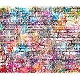 decomonkey Fototapete Steinwand Ziegel 400x280 cm XL Tapete Wandbild Wandbild Bild Fototapeten Tapeten Wandtapete Wandtapeten Ziegelstein Mauer bunt