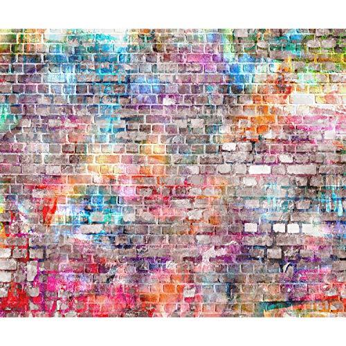 decomonkey Fototapete Steinwand Ziegel 350x256 cm XL Tapete Wandbild Wandbild Bild Fototapeten Tapeten Wandtapete Wandtapeten Steinoptik Mauer bunt