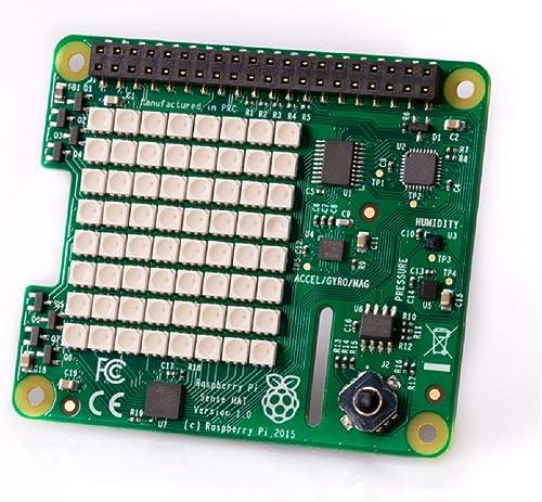 Raspberry Pi Sense Hat - Daughter board with Orientation, pressure, humidity, temperature sensors   Raspberry Pi product image