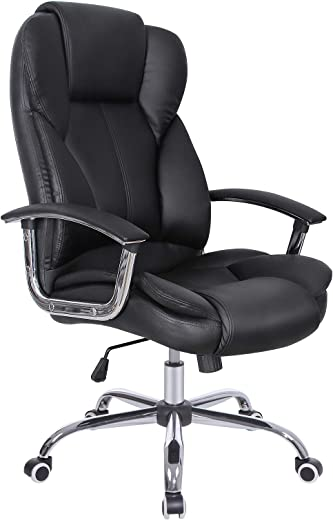 SONGMICS Bürostuhl Chefsessel Drehstuhl Computerstuhl Sitzhöhenverstellung Office Stuhl Polsterung OBG57B, 69 x 62 x (108-114.5) cm
