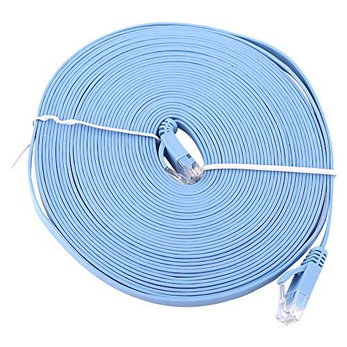 ROSEBEAR CAT6 Ethernet Netwerk Flat LAN Kabel UTP Patchrouter Kabels 1000M Snelle Computer draad Met clip Rj45 Connectors voor Router, Modem 2M, 10M, Blauw
