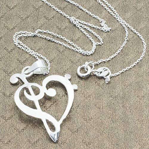 Collar corazón con clave de Sol y Fa de Plata de Ley 925 - Colgantes para regalar