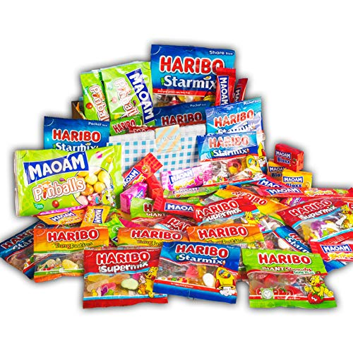 Haribo Happiness Bundle by Funky Sweets | Starmix Pinballs Tangfastic Supermix Giant Strawbs MAOAM Giant Stripes Bloxx Mini Stripes