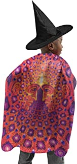 YUIOP Deluxe Halloween Children Costume Psychedelic Trippy Wizard Witch Cloak Cape Robe and Hat Set