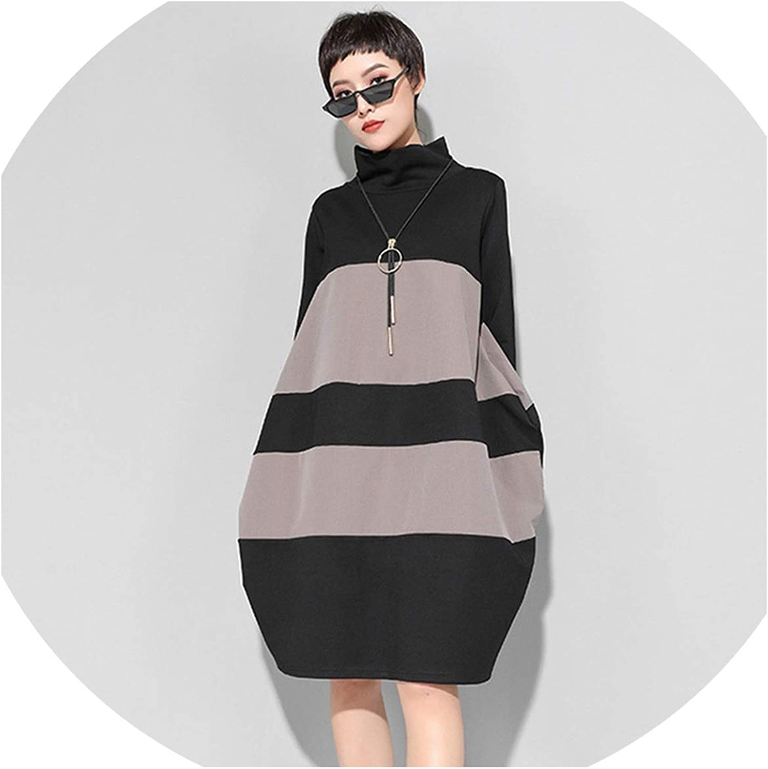 High Collar Long Sleeve Brief Pocket Striped Hit color Loose Dress Women Fashion