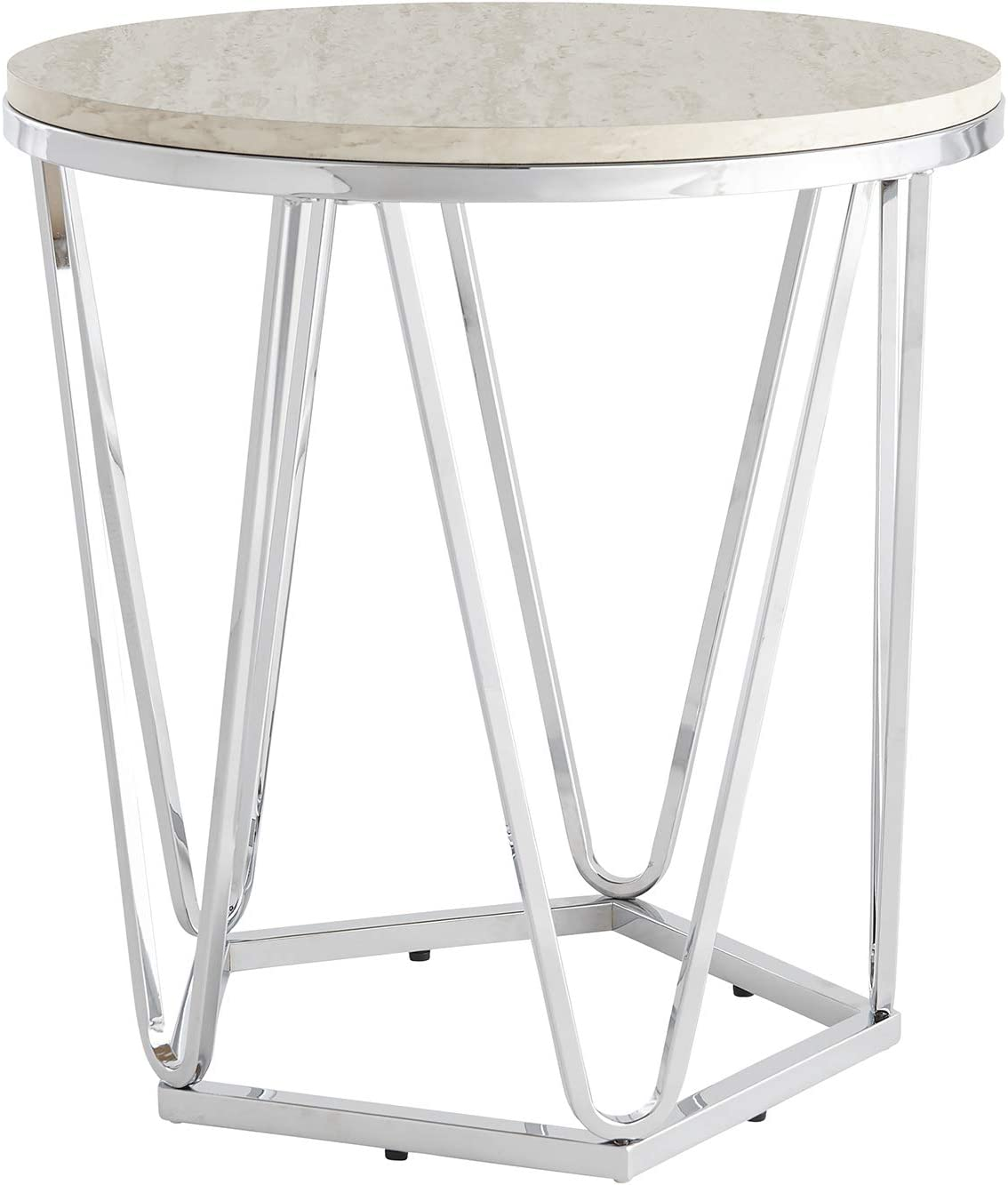 Southern Enterprises Max 73% OFF Luna Large-scale sale end Silver table faux travertine