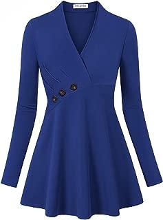 Women's Long Sleeve V Neck Empire Line Tunic Top