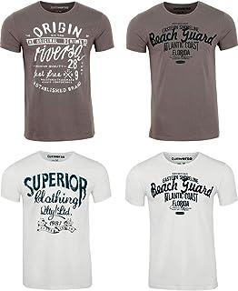 riverso Herren T-Shirt Rundhals RIVLeon 4er Pack O-Neck Kurzarm Print Tee Shirt 100% Baumwolle Regular Fit Grün Blau Weiß ...