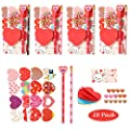Valentines Day Gifts for Kids Classroom - 28 Packs Super Value Valentines Stationery Kit, Valentines Cards with Stickers, Valentines Pencils, Erasers, Notepaper, Valentine Exchange Party Favors Toys