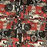 Dekostoff Canvas Rock´n´Roll rot schwarz Canvas - Preis