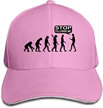 Men's Funny Evolution Stop Following Me Washed Twill Sandwich Caps Hats