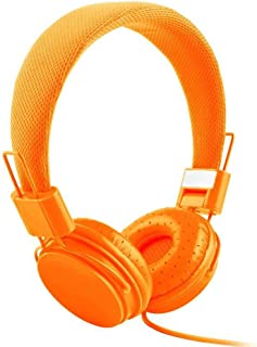 Docooler Wired On-ear Headphone Kids Headset with Mic 3.5mm AUX In-line Foldable & Portable High-fidelity DJ Headset Suitable for Laptop Smart Phones MP3 Orange