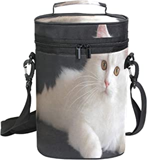 Soft PU Leather Wine Travel Carrier & Cooler Bag Lovely And Friendly Persian Cats Chills 2 bottles of wine or champagne