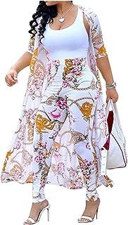 Women's 2 Piece Outfits Floral Long Sleeve Open Front Cardigan High Waist Long Pants Set