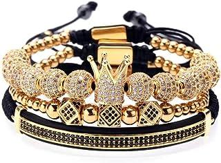 Imperial Crown King Mens Bracelet Pave CZ ,Gold Bracelets...
