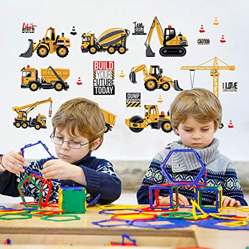 Fineday Build Your Furture Construction Vehicle Removable Wall Sticker Home Art Decors, Home Decor, for Christmas New Year (Multicolor)