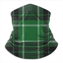 Neck Gaiter, Winter Gezichtsmasker, Oorwarmer Hoofdband, Groene En Zwarte Tartan Met Witte Strepen, Hoofddeksels Voor Wind...