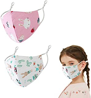 Reusable Cute Dinosaur Bear Kids Cloth Face Cover Mask Washable, Fashion Pink Scarf Decoration Gift for School Girl