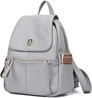 North face Backpack Female Bag Ladies PU Soft Leather Fashion Personality Lightweight Large Capacity Simple Versatile Backpack The North face Backpack (Color : Gray)