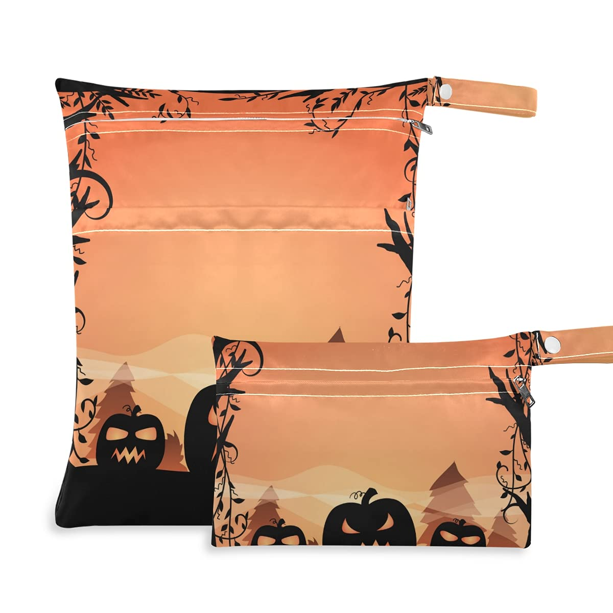 Halloween Spooky Pumpkins Tree Wet B Bag Reusable Dry Inventory cleanup selling sale OFFicial Diaper