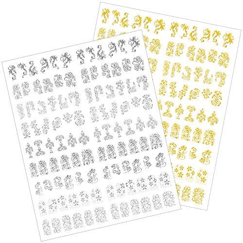 216 Stück 3D Blumen Nagelkunst Sticker Aufkleber Selbstklebend Nagel Spitze Dekoration, 2 Blätter(Silbern und Golden)