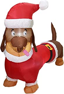 Christmas Decorations 1.5m Christmas Outdoor Inflatables Dog Wearing Santa Hat Xmas Gifts Christmas Inflatable Doll with L...