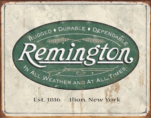 Poster Discount (13x16) Remington Guns Rifles Hunting In All Weather Logo Distressed Retro Vintage Tin Sign, 16x12
