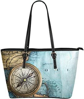 InterestPrint Vintage Nautical Anchors Leather Tote Shoulder Bags Handbags for Women