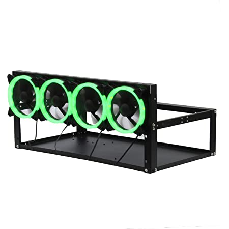 Vtops Acciaio Moneta Open Air Miner Mining Frame Rig Caso Fino a 6 GPU BTC LTC ETH Ethereum Bitcoin Mining Rig Alluminio Impilabile