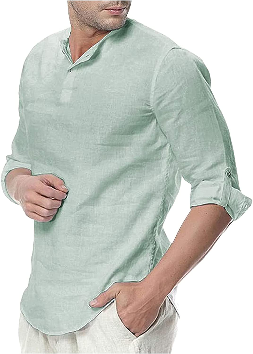 WOCACHI Linen Henley Shirts For Mens, Loose Fit Roll-Up Long Sleeve Casual Beach Solid Tops Fall Yoga Tee Shirt