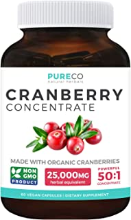 Organic Cranberry Pills - 50:1 Concentrate Equals 25,000mg of Fresh Cranberries (Vegan) for Kidney Cleanse & Urinary Tract...