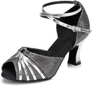 "Misu Women's Peep Toe Sandals Latin Salsa Tango Practice Ballroom Dance Shoes with 2.7"" Heel"