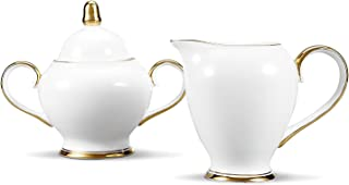 Ndht Bone Chinaティーカップ/コーヒーカップ& Saucersセットwith spoons-6.7oz、ホーム、レストラン、表示&休日のギフトまたは、黄金のエッジ Milk Jug and Sugar Pot NDHT103005