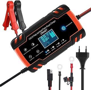 URAQT Cargador de Baterias de Coches, 8A 12V/24V Mantenimiento Automático e Inteligente con Múltiples Protecciones, LCD y Botón de la Pantalla Táctil para Auto, Moto, ATVs, RVs, Barco (Rojo)