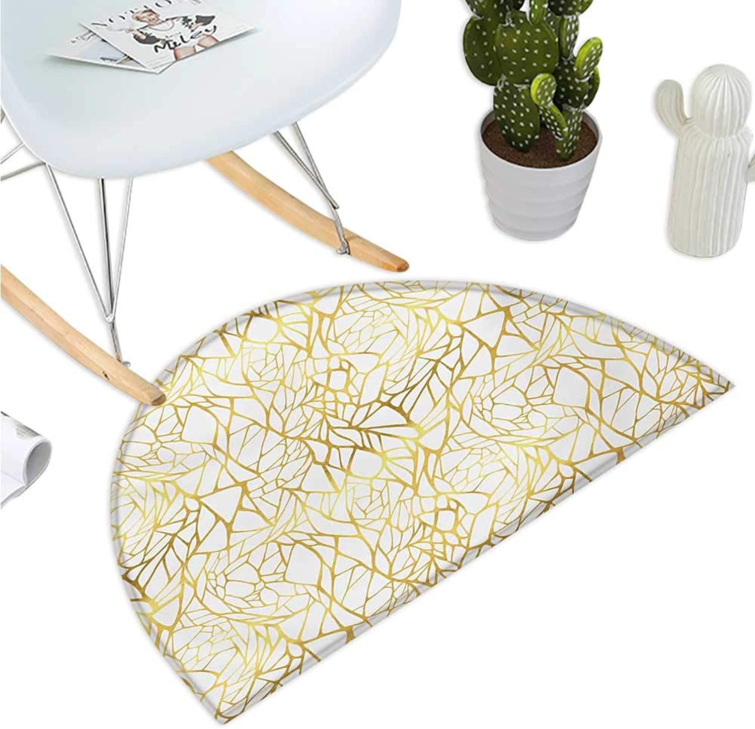 Contemporary Semicircular Cushion Abstract Ornament Exotic Animal Pattern Style Feminine Glamor Print Entry Door Mat H 39.3  xD 59  gold Yellow and White