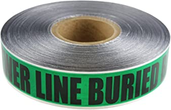 2 in X 1000 FT 5 MIL Detectable Safety Tape Caution Buried Sewer LINE Below Green/Black Print