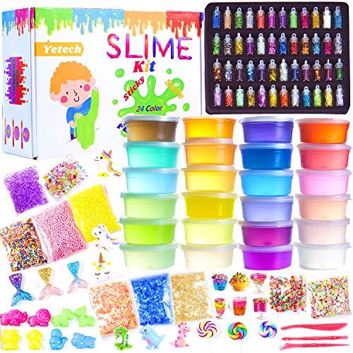 Yetech DIY Slime kit,schleim Set zum selbermachen mit 24 Farben Crystal Schleim, 48 Glitter Pulver,Obst Gesicht, Einhorn Charms für Kunsthandwerk für Kinder 6-12 Jahren mädchen Geschenk