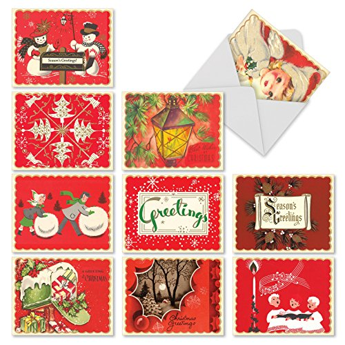 Boxed Set of 10 A Crimson Christmas Blank Holiday Greeting Cards - Vintage Inspired Red Christmas Cards 4 x 5.12 inch, Old Fashioned Xmas Notes, Antique Holiday Notecards M1757XB