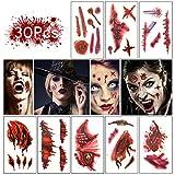 30 Blatt Halloween Tattoo Gruselig Narben Wunde, Qhui Wasserdicht Temporäre Tattoos für Halloween Fright Night Maskerade Party Zombie Teufel Cosplay Mottopartys