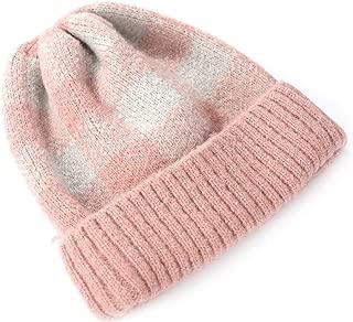 Christmas Women's Hat Winter Fashion Warm Color Plus Velvet Thick Plaid Knit Parent-Child Warm Hat Pink