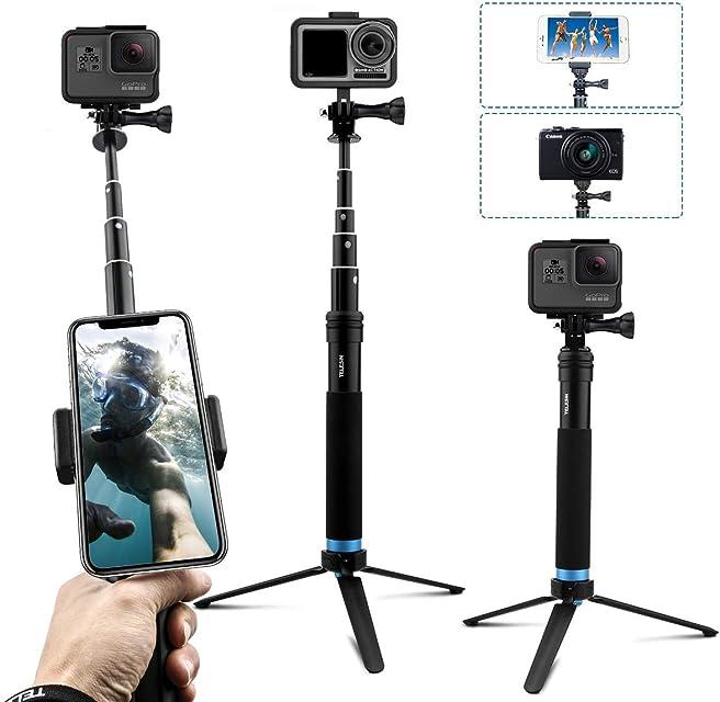 AuyKoo Palo Selfie Stick para Gopro Mini Soporte de trípode para cámara acción Monopie de empuñadura para GoPro Hero 8/7/6/5/4/3 Fusion Session DJI OSMO Action Camara
