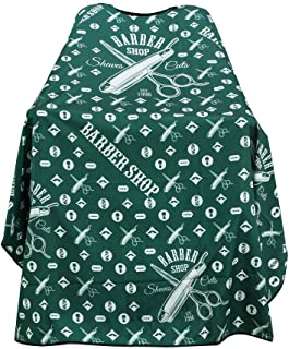 BARBER PRO Barber Cape, Hair Cutting Cape with Snap Closure, Professional Salon Polyester Cape, Barber Hairdressing Cape - Waterproof Adjustable Snap for Hairstylists, 50 x 60 inches (Green)