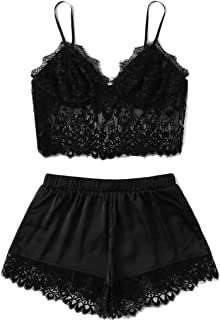 Sexy Sleepwear, Women's Lace Cami Top with Shorts, Lace Trim Underwear Lingerie Straps Bralette and Panty Set
