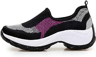 SKLT Platform Sneakers for Women Slip On Loafers Running Shoes Casual Breathable Mesh Hit Color Walking Jogging Dancing