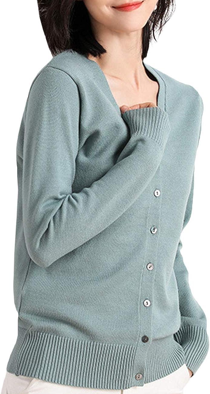 SEMATOMALA Women's Solid V Neck Button Down Long Sleeve Lightweight Basic Supima Cotton Soft Knit Vee Cardigan Sweaters