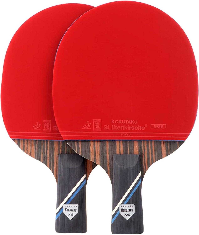 HXFENA Palas de Ping Pong,Raqueta de Tenis de Mesa de Entrenamiento Profesional 7 Capas de éBano Gran Elasticidad,Adecuada para Principiantes Intermedios Y Avanzados / 6 star/A