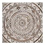 Cuadro Mandala Pintado a Mano de Lienzo marrón y Blanco de 100x100 cm - LOLAhome