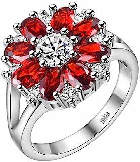 Uloveido الفضة الأرجواني الوردي تشيكوسلوفاكيا الزهور كبيرة بيان خواتم المرأة جذاب مجوهرات J676