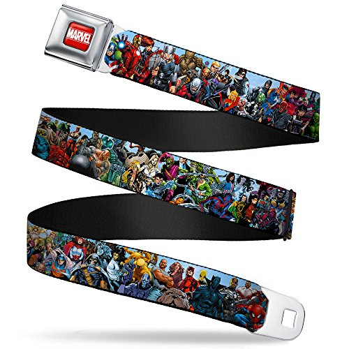 Buckle-Down Seatbelt Belt - Marvel Universe Heroes & Villains Portrait - 1.5' Wide - 24-38 Inches in Length