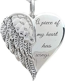 smallwoodi Pendant,Women Angel A Piece Of My Heart Has Wings Letter Necklace